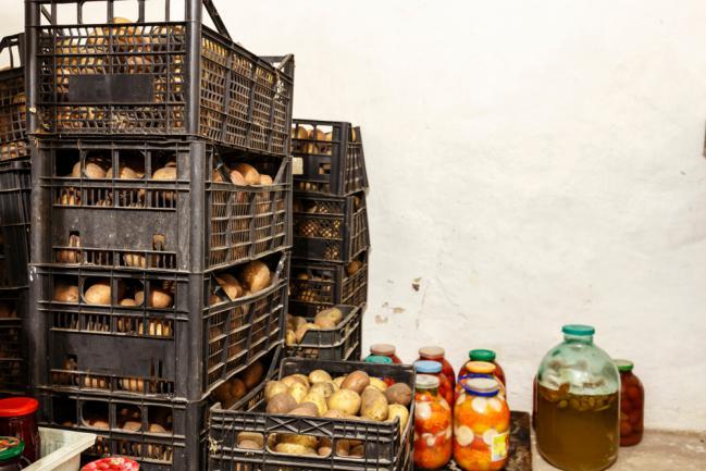 Conservation des pommes de terre récoltées a la maison