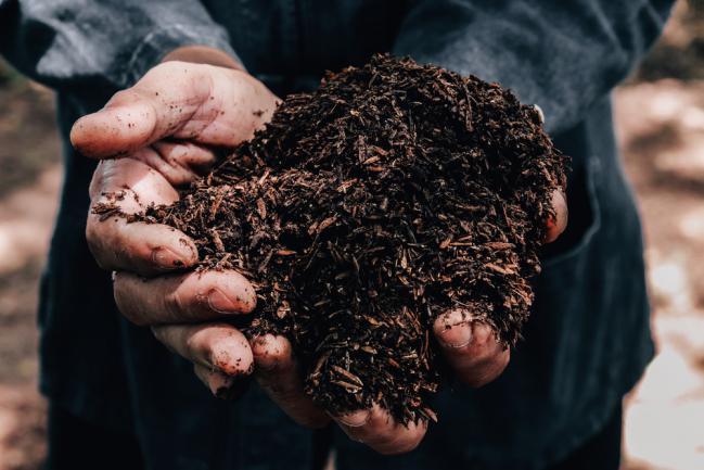 Agriculteur tenant dans la main un tas de terre arable pouvant être utilisé pour la fertilisation des plantes