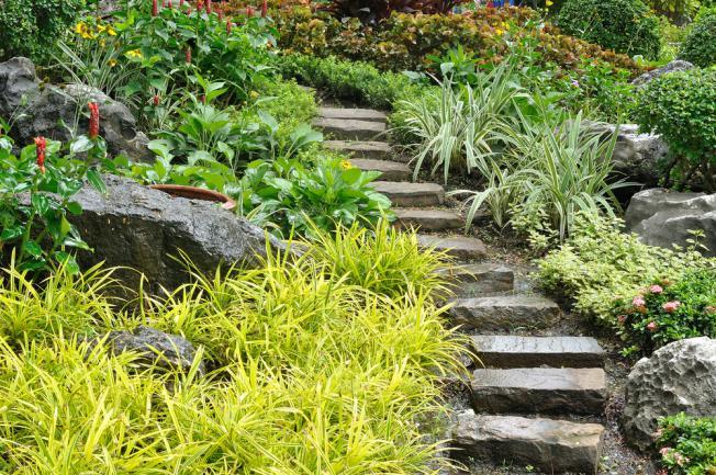 Jardin ornemental et potager en pente